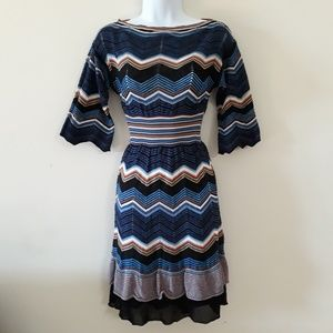 Missoni| Chevron Tiered Ruffle Knit Dress